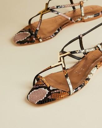 Ted Baker Leather Snake Effect Sandals