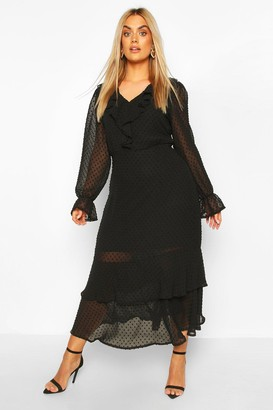 boohoo Plus Dobby Mesh Ruffle Midi Dress