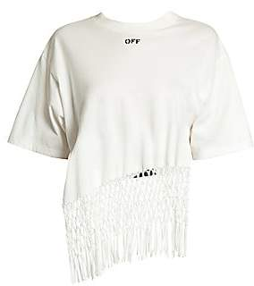 Off-White Women's Asymmetric Hem Fishnet Cotton Tee