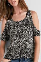 Lucky Brand Batik Cold-Shoulder Shirt