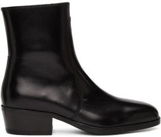 Lemaire Black Leather Zipped Boots