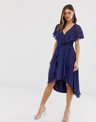Asos Design DESIGN cape back dipped hem midi dress-Blue