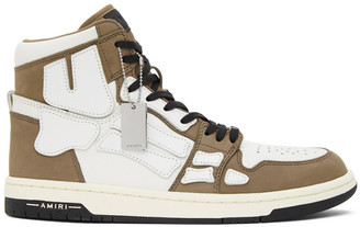 Amiri Brown and White Skeleton High-Top Sneakers
