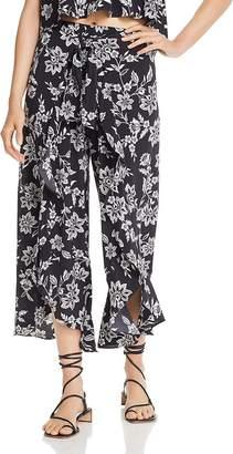 Aqua Floral Cutaway Wide-Leg Pants - 100% Exclusives