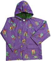 Foxfire for Kids Girls Puple Raincoat with Colorful Owls