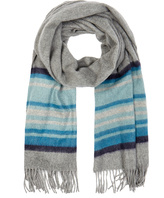 Johnstons of Elgin Teal Stripe Cashmere Scarf