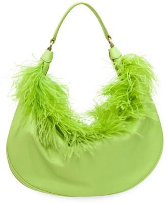 STAUD Sasha Feather-Trimmed Leather Shoulder Bag