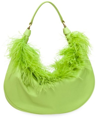 STAUD Sasha Feathered Top Handle Bag
