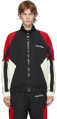 Moschino Black and Red Broken Logo Track Jacket