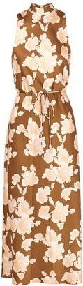 Vince Brown floral-print satin midi dress