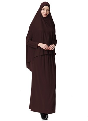 Hougood Muslim Dresses for Women Two-Piece Full Length Hijab Dress Robe Suit Abaya Scarf Dress Robe Gown Prayer Dress Top andDress Sets Basic Style B Khaki