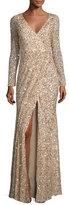 Rachel Gilbert Long-Sleeve Sequined V-Neck Gown, Gold