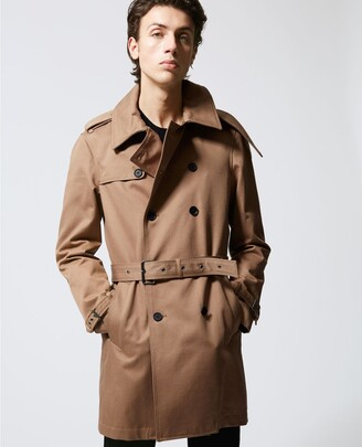 The Kooples Beige belted double-breasted trench coat