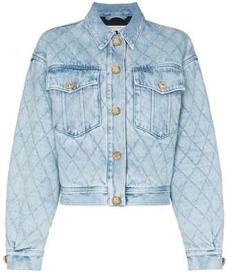Alessandra Rich Crystal-Embellished Quilted Denim Jacket
