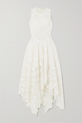 Alexander McQueen Asymmetric Cotton-blend Corded Lace Dress - Ivory