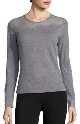 Elie Tahari Kira Lace Inset Merino Wool Sweater