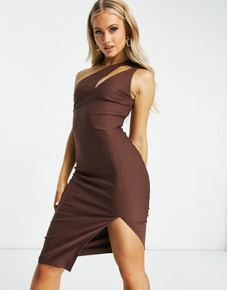 Vesper one shoulder cutout midi pencil dress in chocolate