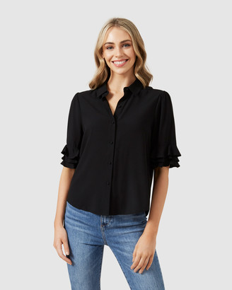 French Connection Flutter Sleeve Shirt