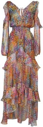 Dundas Printed Silk & Lurex Dress W/ Ruffles
