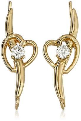 The Ear Pin 18k Gold Over Silver Cubic Zirconia Shoot Heart Earrings