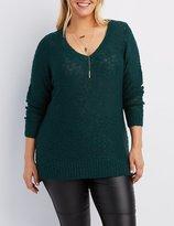 Charlotte Russe Plus Size Slub Knit V-Neck Sweater