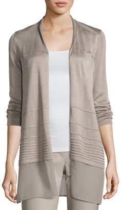 Nic+Zoe Plus Size Textured Chiffon-Trim Cardigan, Light Beige