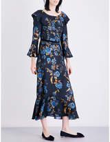 Alberta Ferretti Ruffled floral-print silk-twill midi dress
