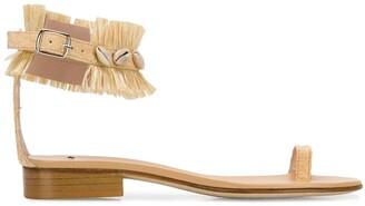 Leandra Medine Raffia Fringe Sandals