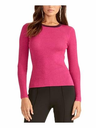 Rachel Roy Womens Pink Glitter Long Sleeve Crew Neck Sweater Size: S