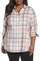 Foxcroft Plus Size Women's Cici Herringbone Plaid Tunic