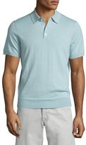 Neiman Marcus Short-Sleeve Cashmere-Silk Polo Shirt, Mint