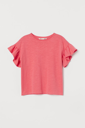 H&M Flutter-sleeved Top - Red