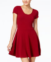 Planet Gold Juniors' Cap-Sleeve Textured Fit and Flare Dress