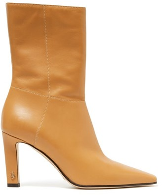 Jimmy Choo Merle 100 Square-toe Leather Ankle Boots - Beige