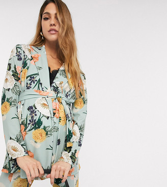 Asos DESIGN Maternity jersey suit blazer in green floral
