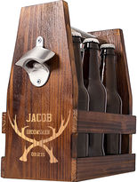 Cathy's Concepts CATHYS CONCEPTS Personalized Groomsman Antlers Rustic Craft Beer Carrier with Bottle Opener