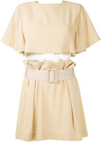 Toga pleated trim belted dress
