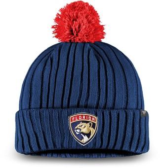 Key Stone Men's Fanatics Branded Navy Florida Panthers Keystone Cuffed Knit Hat with Pom