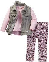 7 For All Mankind Vest, Tee, & Twill Pant Set (Baby Girls)