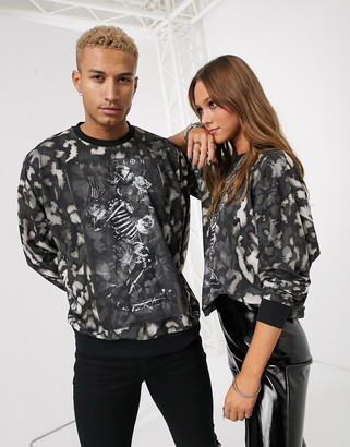 Religion Unisex rock sweatshirt in burn out leopard-Multi