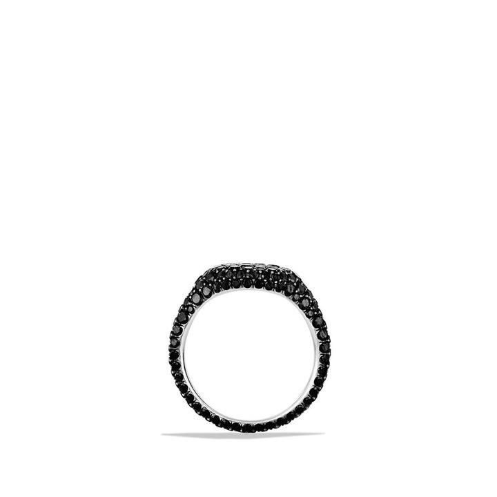 David Yurman Petite Pavé; Pinky Ring with Black Diamonds in Gold