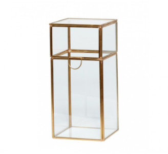 Hubsch - Vertical Crystal and Brass Decorative Box - Crystal and brass