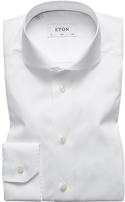Eton White Plain Poplin Shirt - Slim Fit