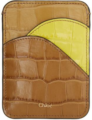 Chloé Tan and Yellow Croc Walden Card Holder