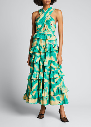 Ulla Johnson Zahra Halter Crisscross Tiered Silk Gown
