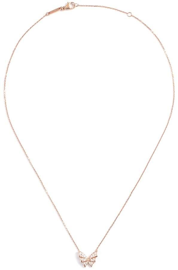 Stephen Webster Batmoth diamond 18k rose gold mini pendant necklace
