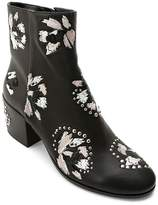 Dolce Vita Women's Mollie Embroidered Leather Block Heel Booties