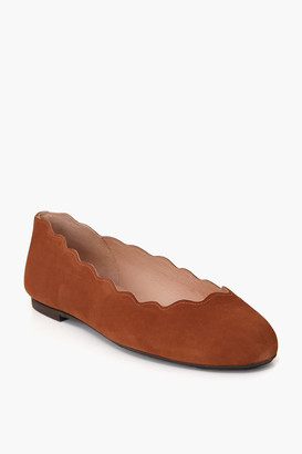 French Sole Praline Jigsaw Suede Flats