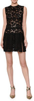 Valentino Sleeveless Embellished Lace Mini Dress, Black