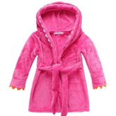 BELLE-LILI Kids Girls Fleece Robe Cotton Animal Dinosaur Hooded Bathrobe